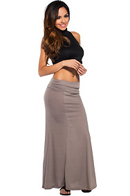 Essential Long Taupe Maxi Skirt
