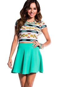 """""""Mikayla"""" Mint Textured Skater Skirt"""