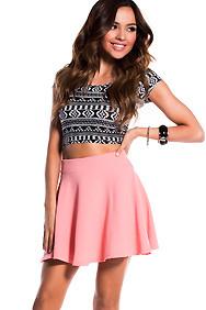 Coral Textured Skater Skirt