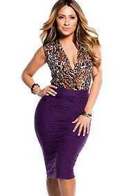 Pleated Purple Knee Length Skirt