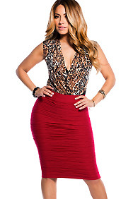 Pleated Red Knee Length Skirt