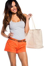 Orange Crush Shorts with Brown Belt