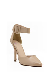 """Sexy Beige """"Aveta"""" Patent Lather Ankle Buckle Strap Heels"""