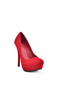 Sexy Red 'Jones' Suede Platform High Heel Pump