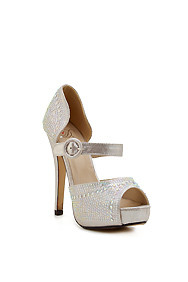 Silver 'Expect' High Heel Pump With Buckle Strap