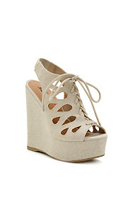 Beige 'Nadine' Tie-Up Shoelace Cut-Out Wedge