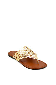 Gold 'Jolt' Cut-Out Flat Sandal