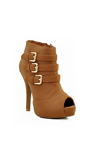 "Brown ""Verdict"" Triple Buckle Peep Toe Bootie"