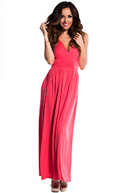 Casual Coral Double V-Neck Maxi Dress