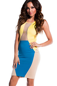 Mod Yellow, Blue, and Tan Cut-Out Colorblock Dress