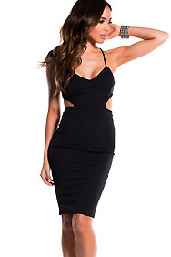 Sexy Black Spaghetti Strap Cut-Out Dress