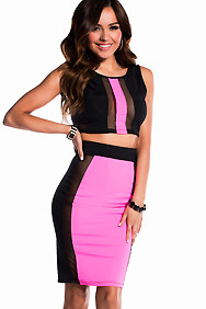 Sexy Black with Pink and Mesh Racer Stripe Two Piece Dress Set
