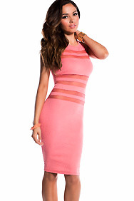 Sexy Coral Mesh Stripe Spiral Texture Midi Dress