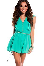 Cute Emerald Green Flowy Front Zipper Romper