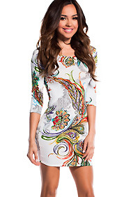 Sexy White and Colorful Floral Peacock Flare Half Sleeve Dress