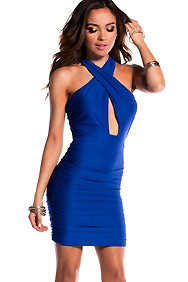 Sexy Royal Blue Draped Criss-Cross Exposed Back Ruched Dress