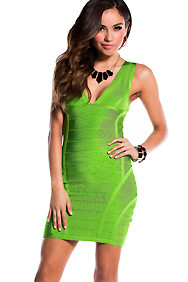Lime Green Thick Strap V-Neck Bandage Dress