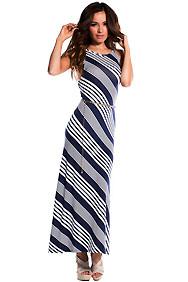 Blue and White Diagonal Stripe Maxi Dress