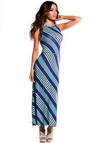 Blue and Mint Diagonal Stripe Maxi Dress