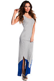 Cute White and Black Diagonal Lined Maxi Dress