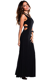 Solid Black Waist Cut-Out with Single Band Maxi Dress