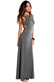 Solid Gray Waist Cut-Out with Single Band Maxi Dress