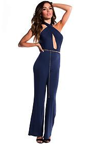 Sexy Navy Blue Criss-Cross Jumpsuit