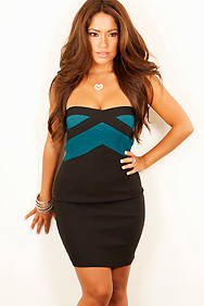 """Dahnay"" Black and Teal Strapless Dress"