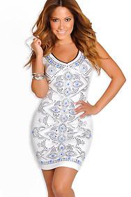 """""""Jeanette"""" White Sleeveless Studded Dress"""