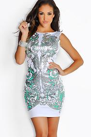 """Andrina"" White and Mint Sleevless Metallic Print Dress"