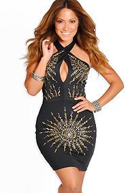 """Keira"" Black Studded Halter Dress"