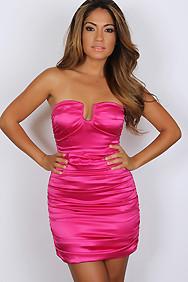 """""""Tiffany"""" Fuchsia U Keyhole Satin Strapless Mini Dress"""
