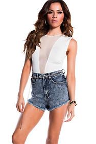 High-Waisted Dark Denim Cut-Off Jean Shorts
