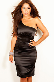 Sexy Dress One Shoulder Black Satin Club Dresses