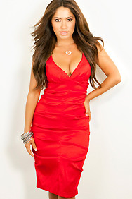 Sexy Dress Formal Deep V-Neck Red with Designer Folds Club Dresses