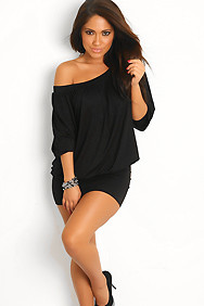 """Elena"" Black Off-the-Shoulder Tunic Dress"