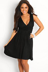 Plain Black V Neck Sleevless Dress