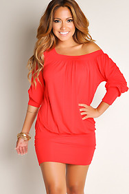 """Elena"" Red Off-the-Shoulder Tunic Dress"