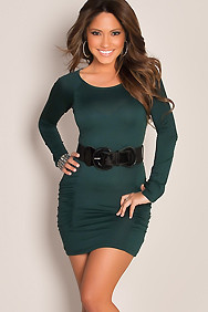 Emerald Green Holiday Long Sleeve Party Club Dress with Pockets