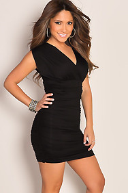 Sexy Little Black V-Neck Runched Tunic Mini Club Dress