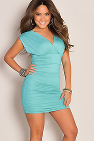 Sexy Mint V-Neck Runched Tunic Mini Club Dress