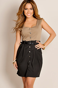 Mocha Brown Simple Seduction Sleeveless Color Block Belted Waist Wide Strap Cocktail Dress