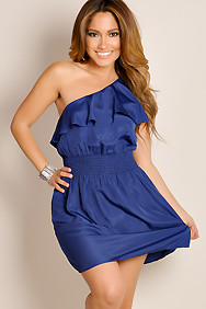 Navy Blue City Chic Asymmetrical One Shoulder Ruffle Cocktail Dress