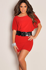 Simple Red Scoop Neck Rhinestone Sexy Dress with Black Belt