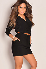 Little Black Deep V-Neck Skinny Belt Sexy Club Dress With Pockets
