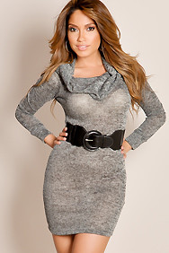 Gray Casual Chic Belted Waist Cowl Neck Textured Knit Dress