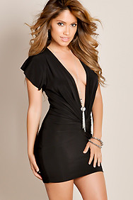 Black Flirtatious Mini Plunge Neckline with Rhinestone Necklace Club Dress