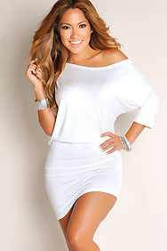 """Courtney"" Creamy White Sexy Off the Shoulder T-Shirt Dress"
