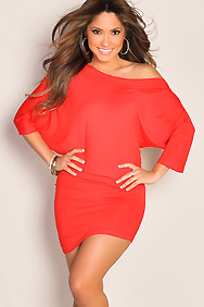 Sleek Red Oversized Tee Tunic Sexy Dress