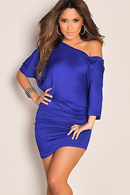 Sleek Royal Blue Oversized Tee Tunic Sexy Dress
